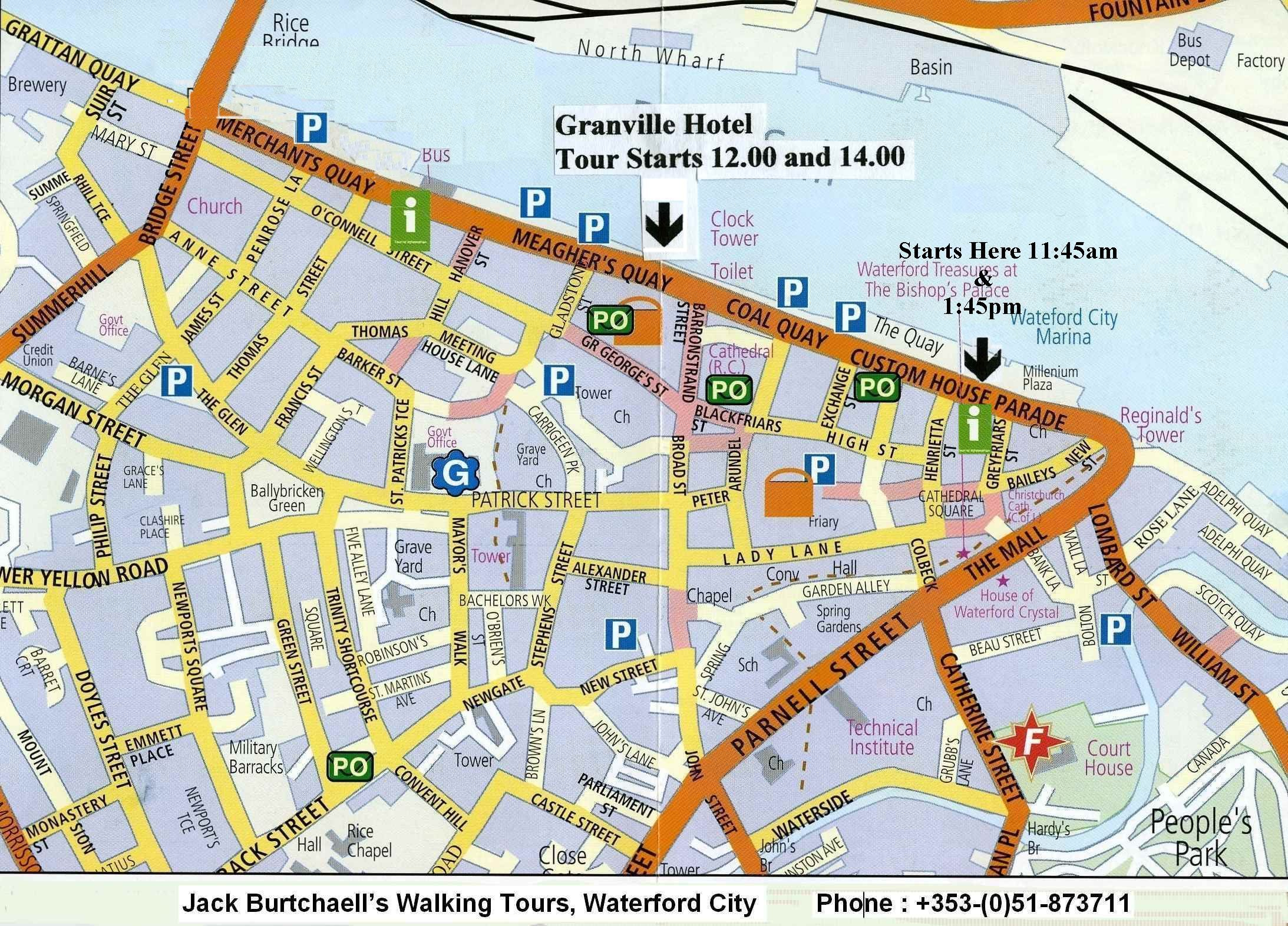 Jack Burtchaell's Walking Tour Map of  Waterford City, Ireland.