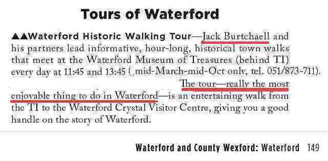 Jack Burtchaell's Walking Tour in Waterford City, Ireland in Rick Steves 2011.